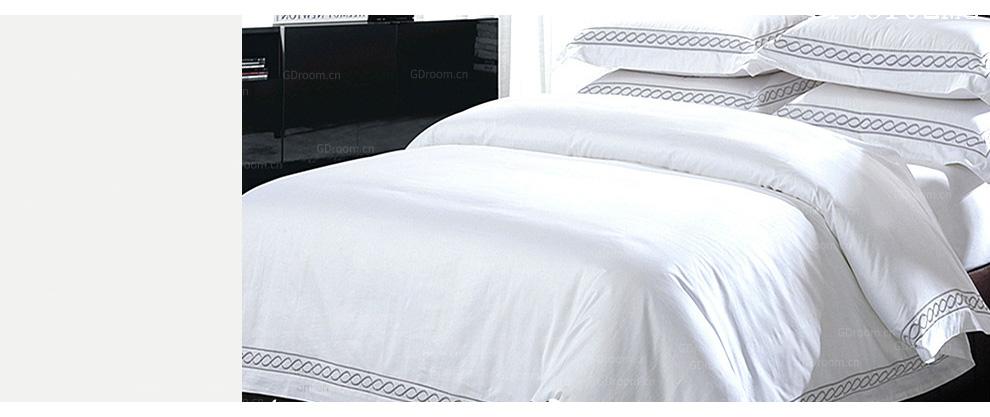 白色刺绣 60S酒店床品套件
