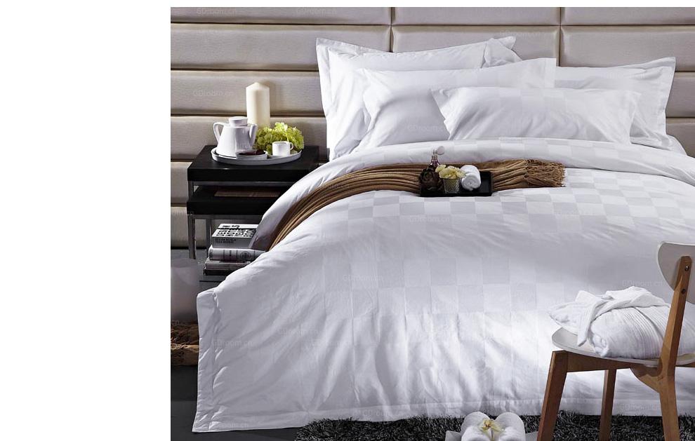 酒店白色格子床品